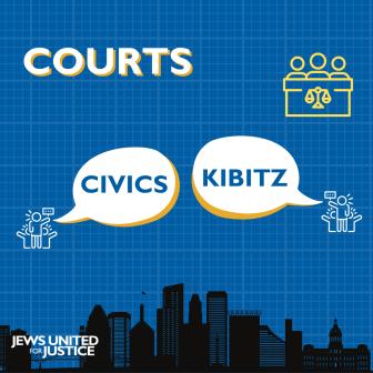 Civics Kibitz in speech bubbles over Baltimore City Skyline